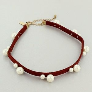 SALE! PEARL ACCENTED BURGUNDY FAUX SUEDE CHOKER